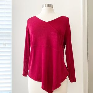 Chicos Travelers Red Long Sleeve Size 2 Blouse Top